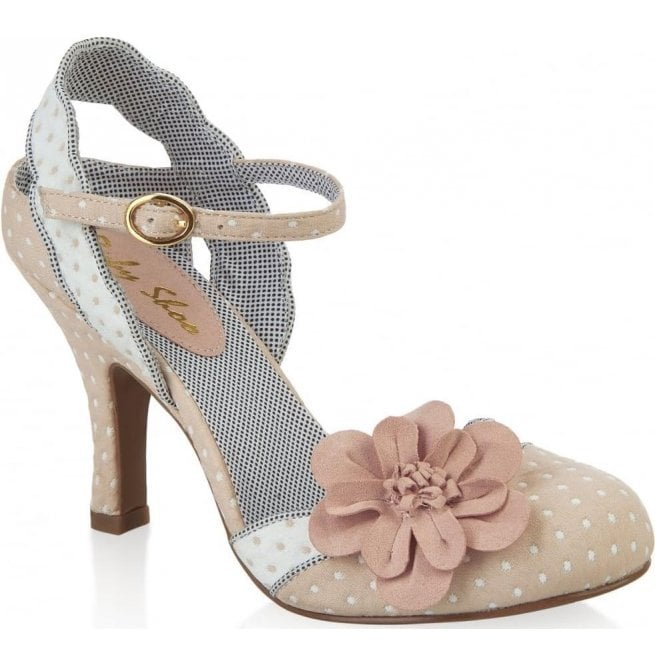 Ruby Shoo Womens Heidi Beige Court Shoes With Flower Detail