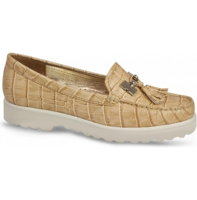 Lisa Kay Womens Coco White Camel Croc Slip On Moccasins