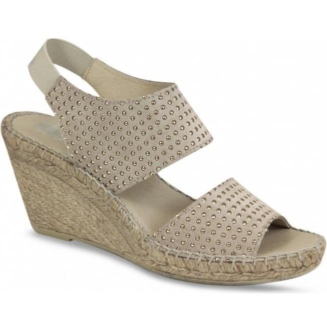 Lisa Kay Womens Becca Taupe Studded Espadrilles