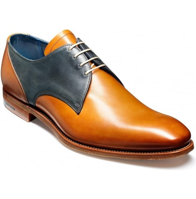 Barker Mens Alvis Cedar/Blue Derby Leather Shoes