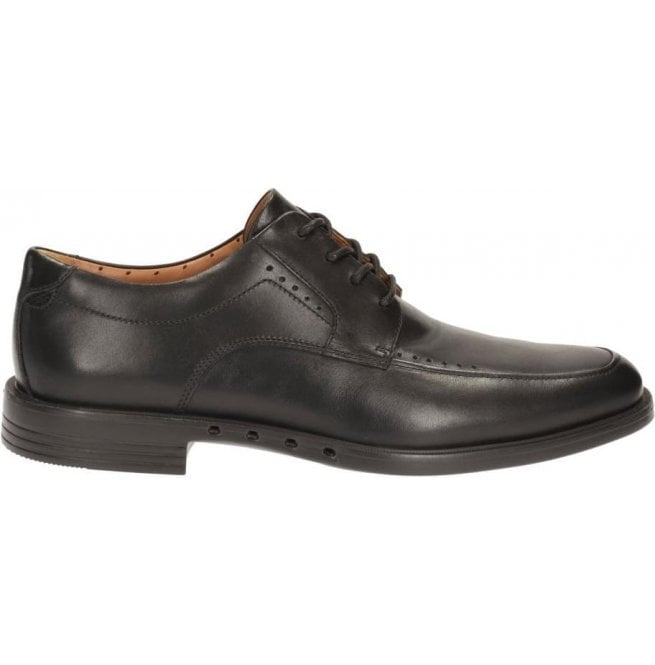 Clarks Mens Unbizley View Black Leather Formal Shoes