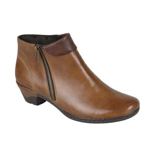 Rieker Womens Cristallin Brown Zip Ankle Boots 76961-24