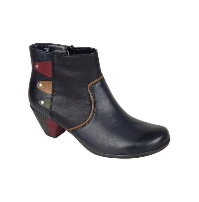 Rieker Womens Eagle Navy/Multi Ankle Boots With Side Zip Y7273-14