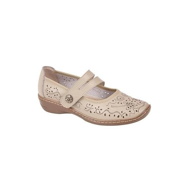 Boulevard Womens Beige Touch Fastening Bar Shoes L394BE