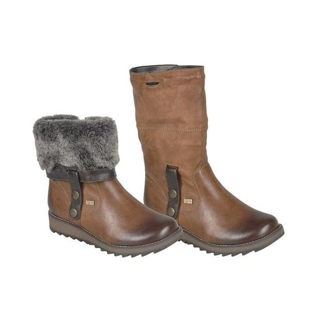 Remonte Womens Eagle Brown Two-Way Waterproof Boot D8874-24