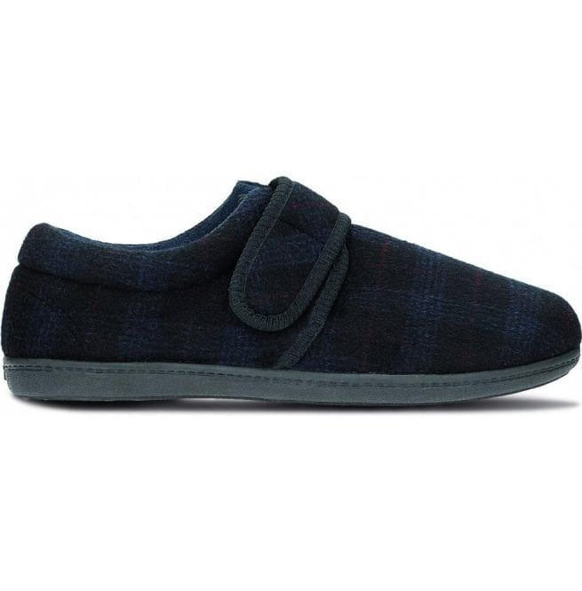 Clarks Mens King Strap Navy Check Fabric Slippers