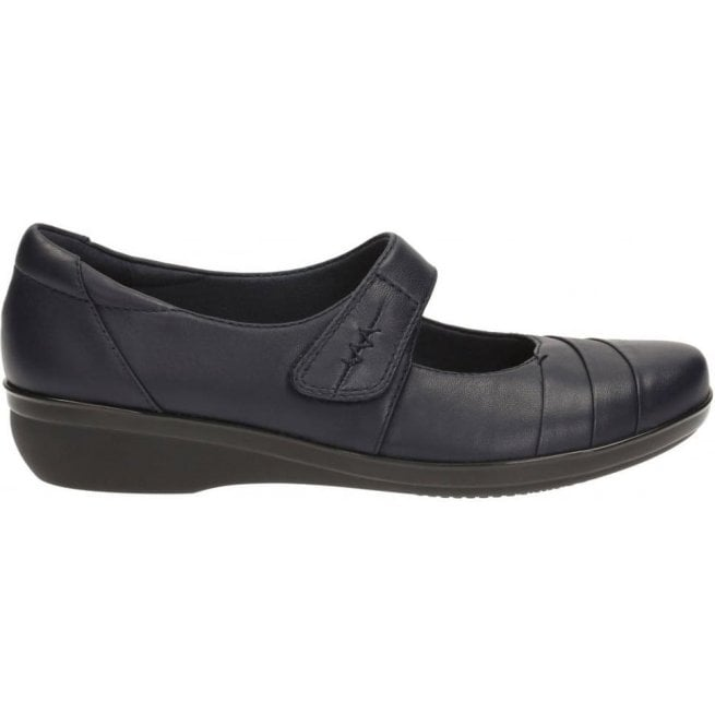 Clarks Womens Everlay Kennon Navy Leather Mary Jane Shoes