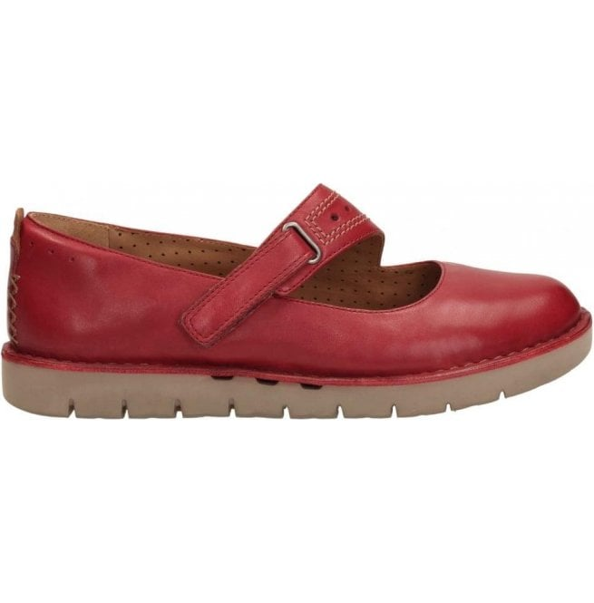 Clarks Womens Un Briarcrest Red Leather Mary Jane Shoes