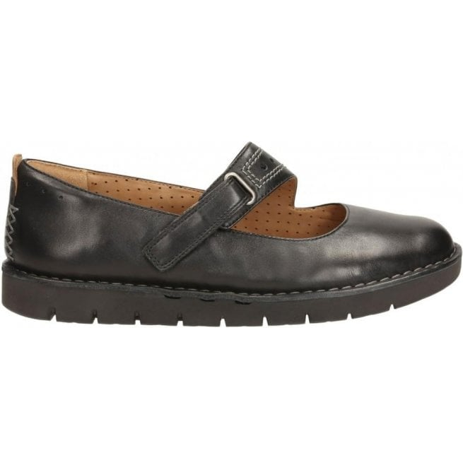 Clarks Womens Un Briarcrest Black Leather Mary Jane Shoes
