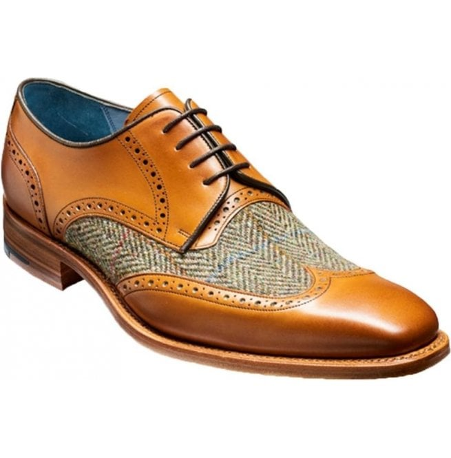 Barker Mens Jackson Cedar Calf Brogue Tie Shoes With Green Tweed