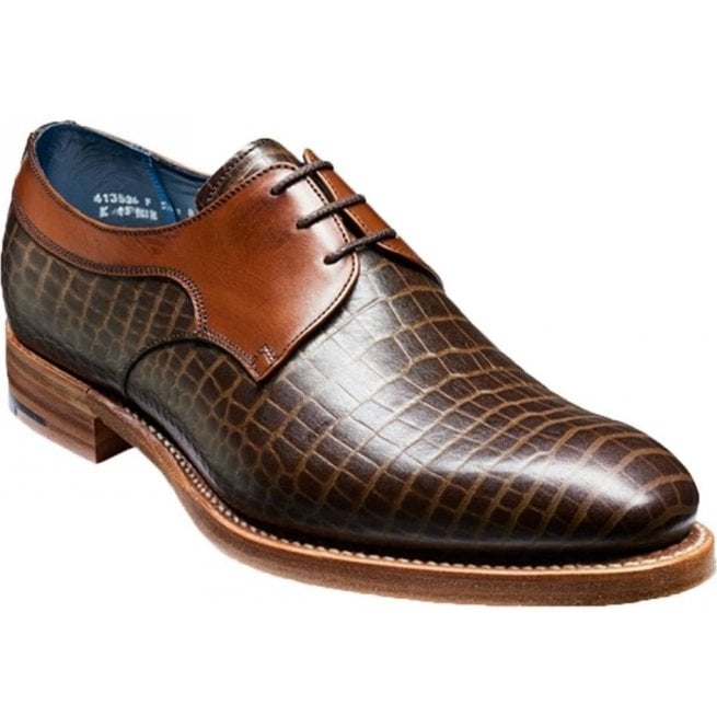 Barker Mens Benedict Brown Croc/Calf Lace-Up Shoes