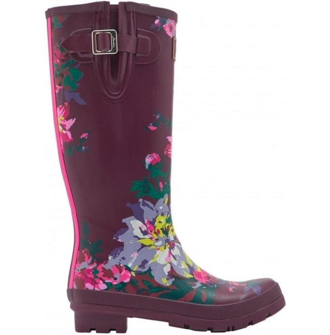 Joules Womens Wellyprint Tall Printed Burgundy Bloom Boots