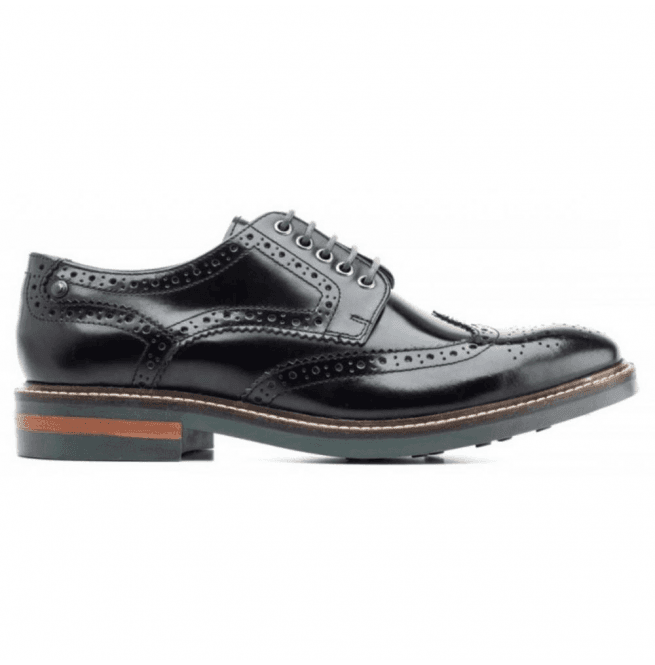Base London Mens Woburn Black Hi-Shine Formal Brogue Shoes