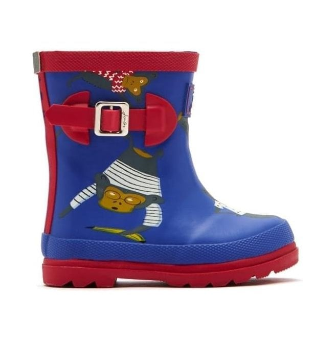Joules Boys Dazzling Blue Monkey Baby Welly