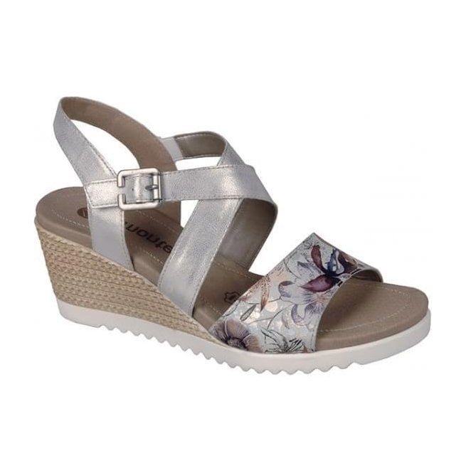 Remonte Womens Madeira Metallic White Floral Velcro Sling Back Sandals D3452-90
