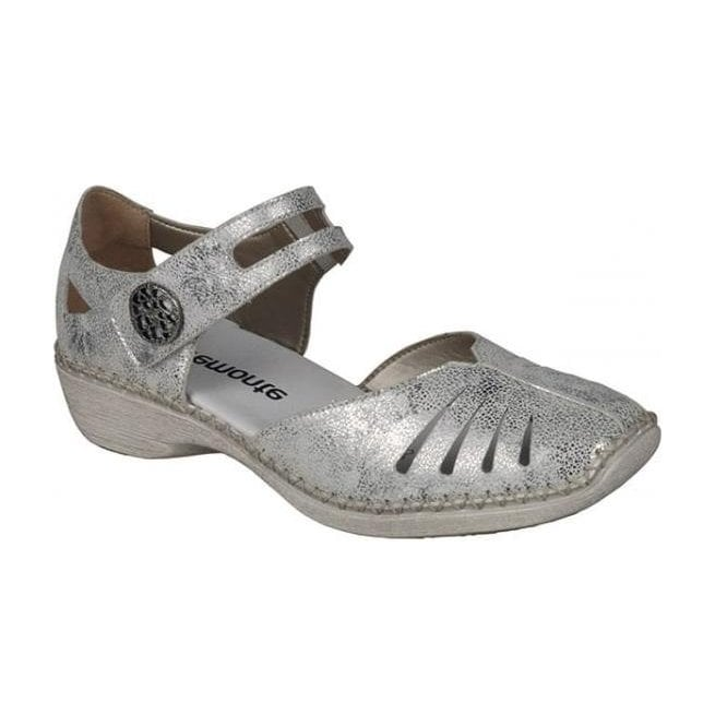 Remonte Womens Hawai Metallic White/Silver Leather Casual Mary Jane Bar Shoes D1636-81