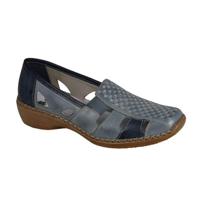 Rieker - Womens Ganges Blue Slip On Casual Shoes 41340-12