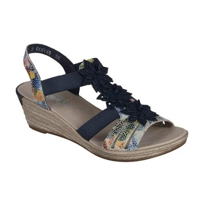 Rieker - Womens Bosnia Blue-Combi Sandals With Flower Detail 62461-90