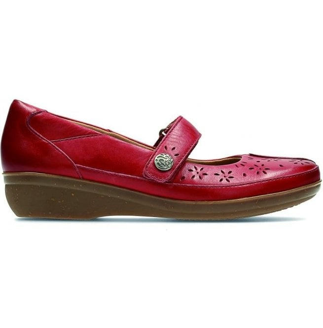 Clarks Womens Everlay Bai Red Leather Mary Jane Bar Shoes