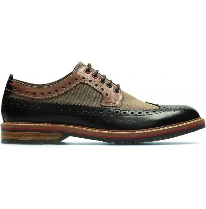 Clarks Mens Pitney Limit Brown Combi Leather Brogue Shoes