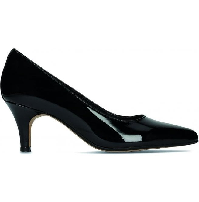 Clarks Womens Isidora Faye Black Patent Leather Court Shoes