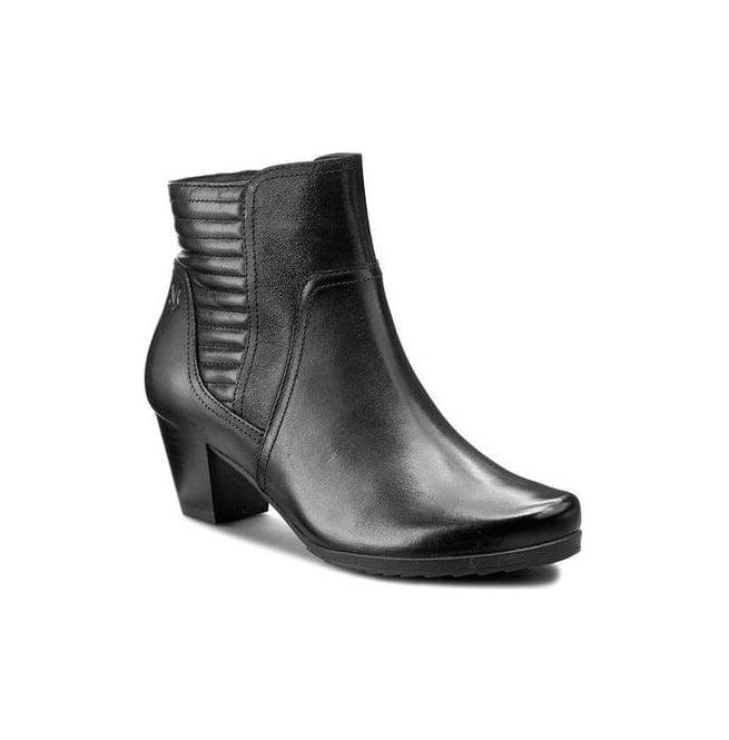 Caprice Womens Black Leather Ankle Boots 9-25337-27 019