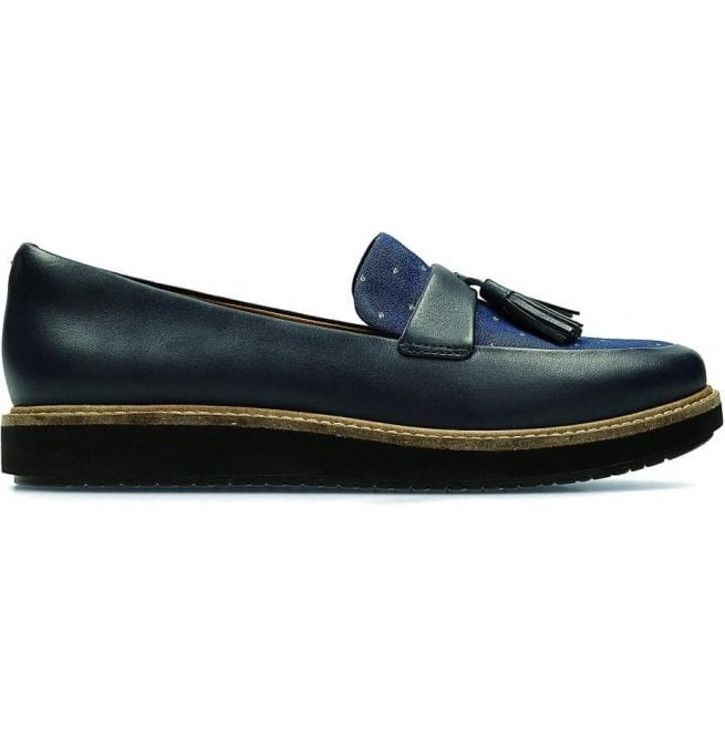 Clarks Womens Glick Castine Navy Leather Tasseled Loafers