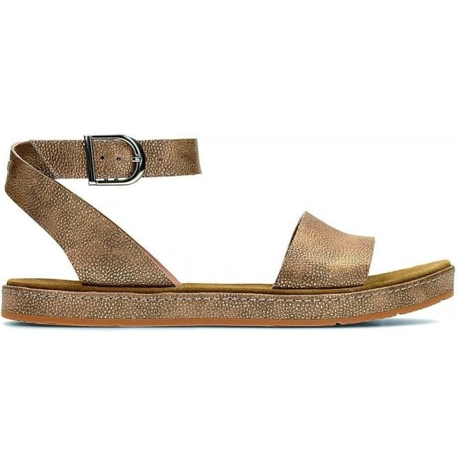 Clarks Womens Romantic Moon Gold Leather Sandals