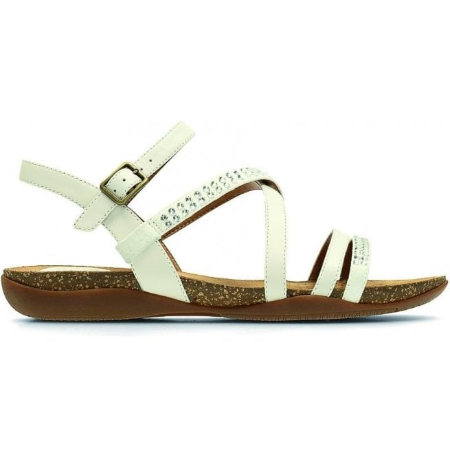 Clarks Womens Autumn Peace White Leather Sandals