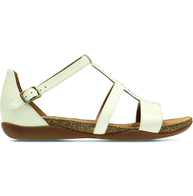 Clarks Womens Autumn Fresh White Leather Closed Heel Sandals