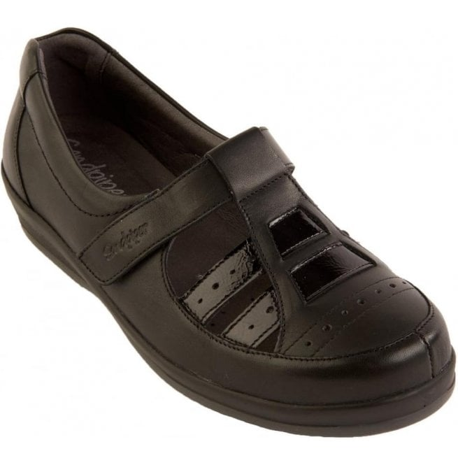Sandpiper Womens Foxton Black Patent Extra Wide Shoes