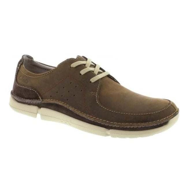Clarks Mens Trikeyon Fly Brown Leather Casual Lace Shoes