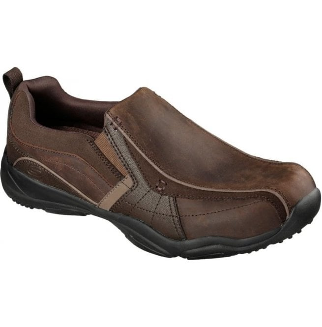 Skechers Mens Relaxed Fit Larson Berto Dark Brown Slip On Trainers 64897