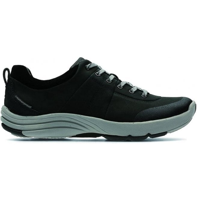 Clarks Womens Wave Andes Black Nubuck Trainers