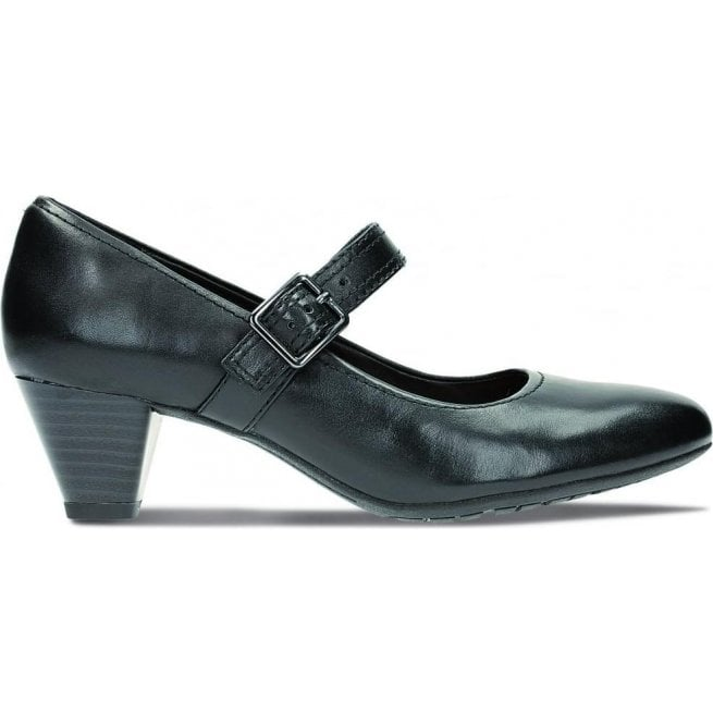 Clarks Womens Denny Date Black Leather Mary Jane Shoes