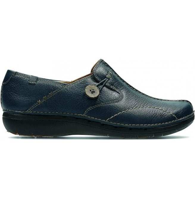 Clarks Womens Un Loop Navy Leather Casual Shoes