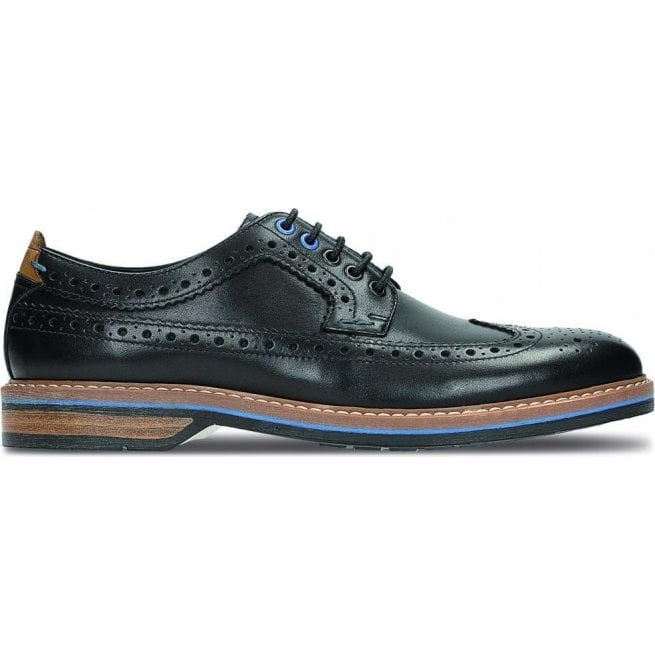 Clarks Mens Pitney Limit Black Leather Brogue Shoes