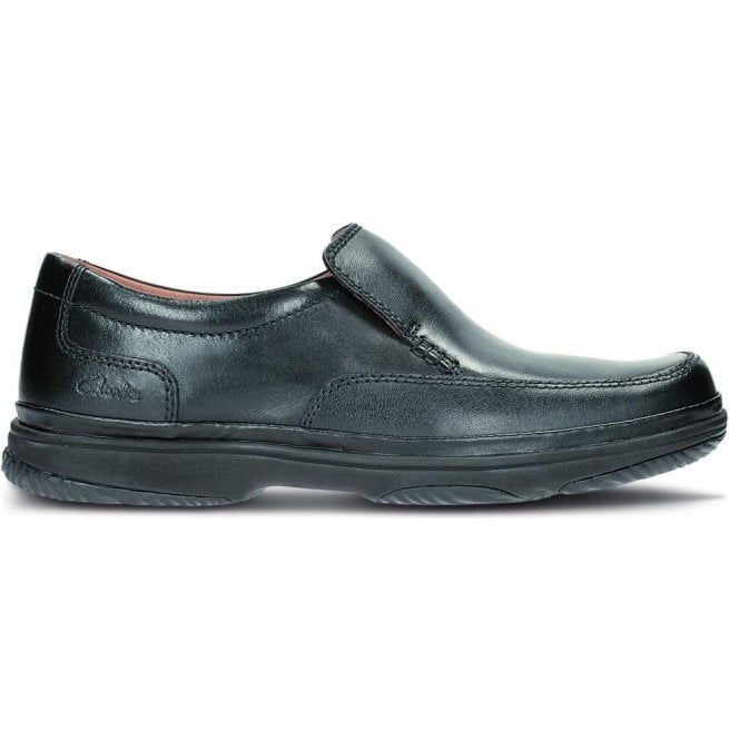 Clarks Mens Swift Step Black Slip On Shoes Wide Fitting