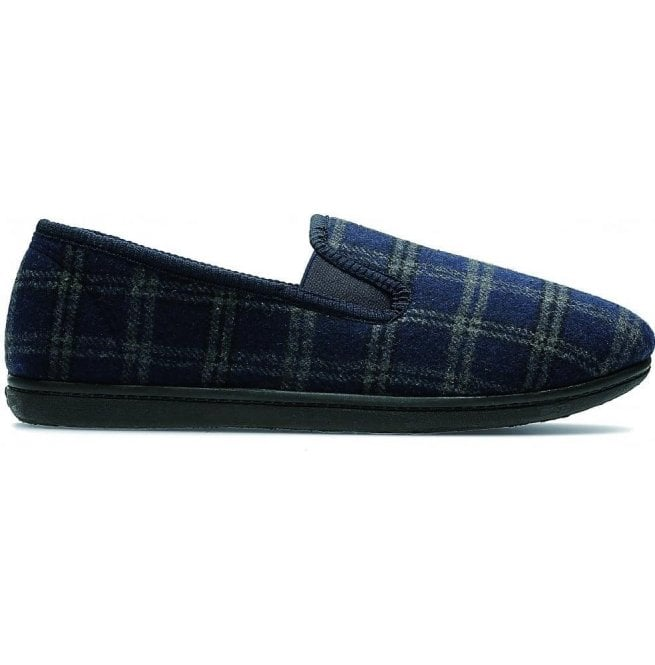 Clarks Mens King Twin Navy Checked Fabric Slippers