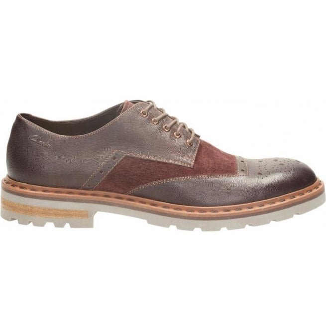 Clarks Mens Dargo Limit Chestnut Combi Formal Shoes