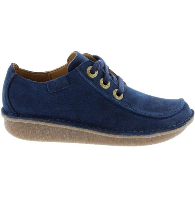 Clarks Womens Funny Dream Dark Navy Nubuck Casual Shoes