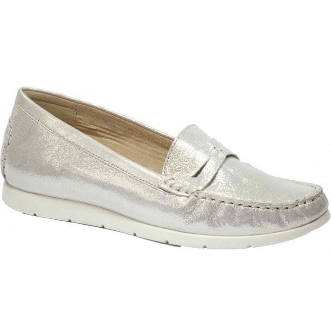 Caprice Womens Ettiene Off-White Glitter Leather Slip On Moccasins 9-9-24251-28 116