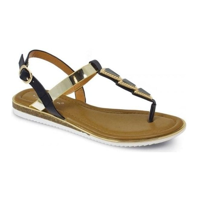 Lunar Womens Bobbi Black Toe Post Fashion Sandals JLH815 BK