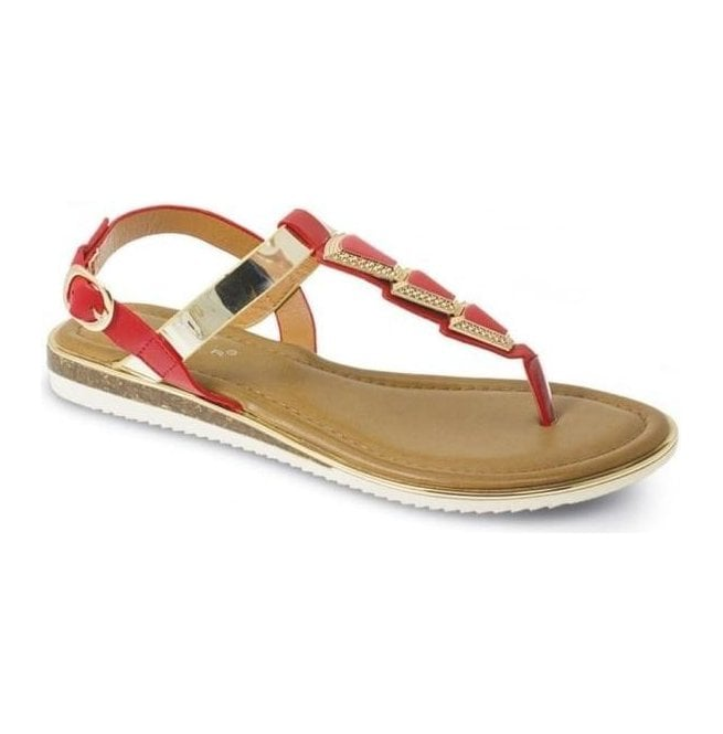 Lunar Womens Bobbi Red Toe Post Fashion Sandals JLH815 RD