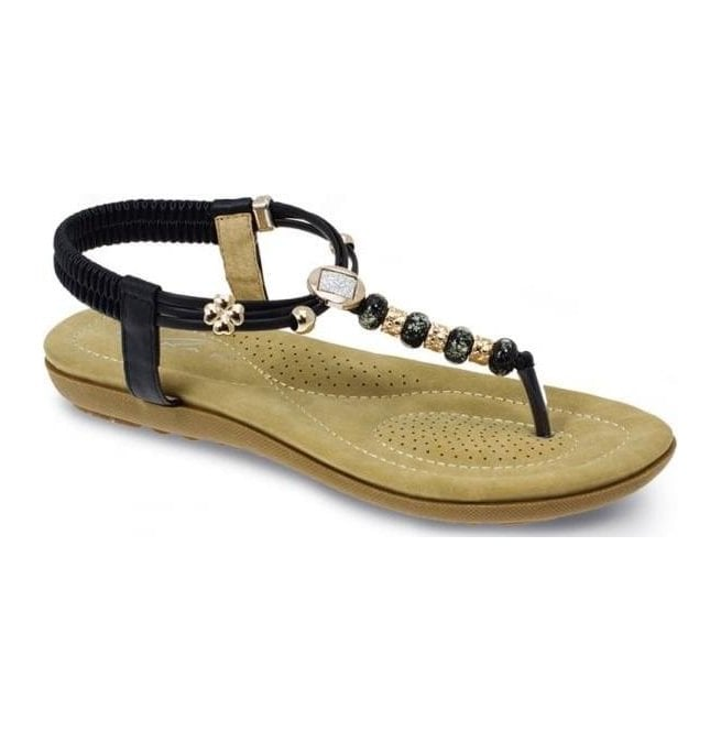 Lunar Womens Murano Black Beaded Toe Post Sandals JLH879 BK