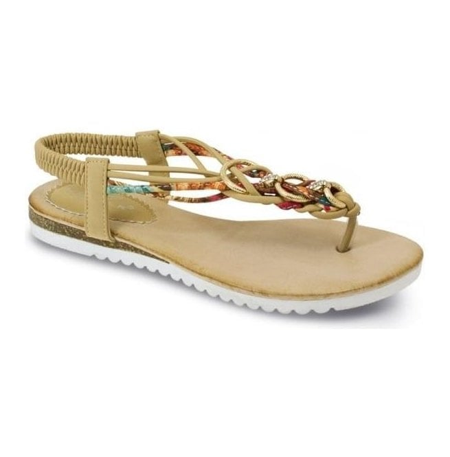 Lunar Womens Sky Beige Twist Toe Post Sandals JLH792 BG