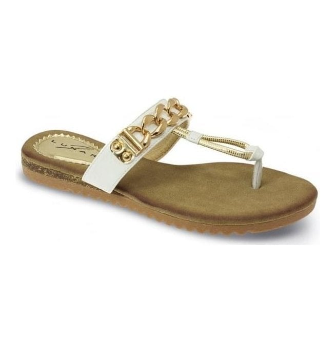 Lunar Womens Delores White Chain Toe Post Sandals JLH839 WT