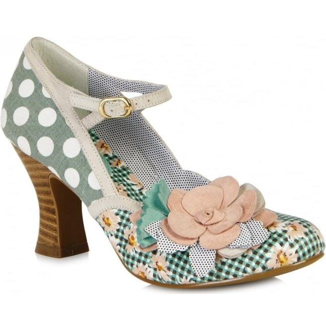 Ruby Shoo Womens Dee Mint/Peach Mary Jane Court Shoes 09095