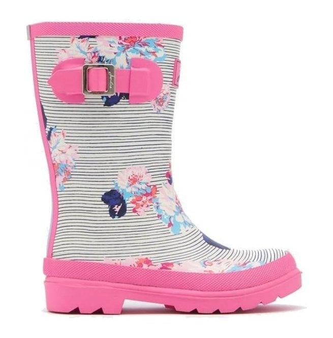 Joules Girls Junior Pool Blue Posy Stripe Welly