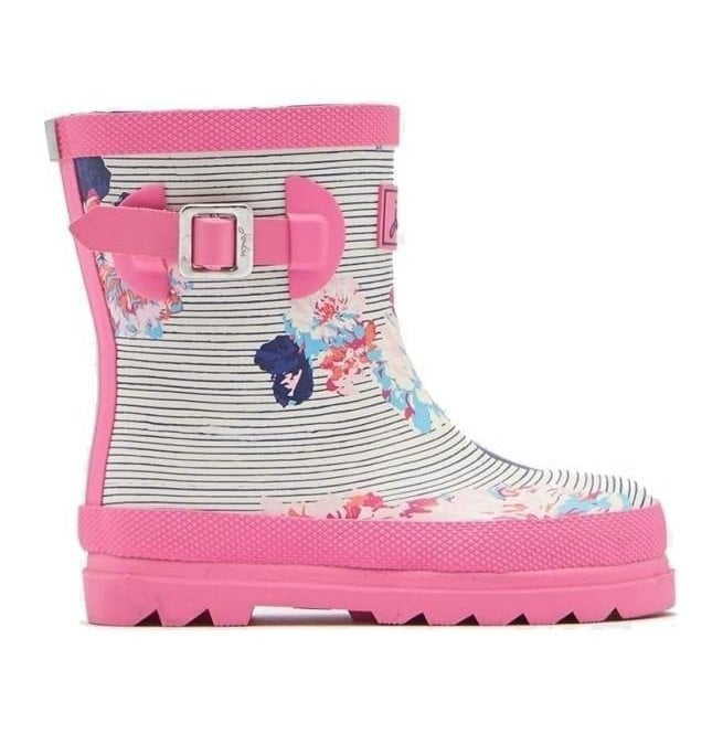 Joules Girls Baby Pool Blue Posy Stripe Welly